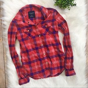 AEO | Red Flannel Button Up 🌟